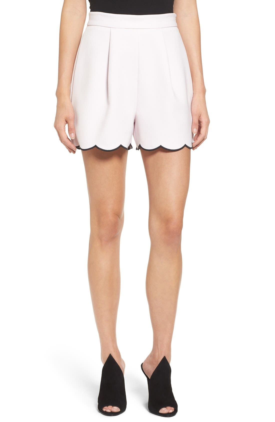 Main Image - KENDALL + KYLIE Scallop Hem High Waist Shorts