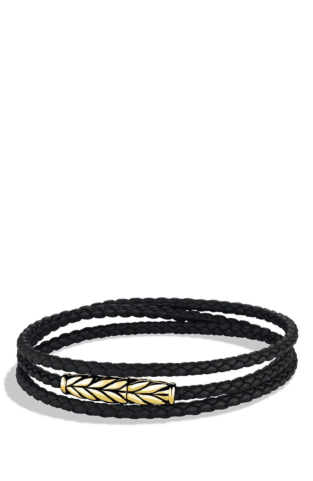 DAVID YURMAN 'Chevron' Triple-Wrap Bracelet in Black Leather