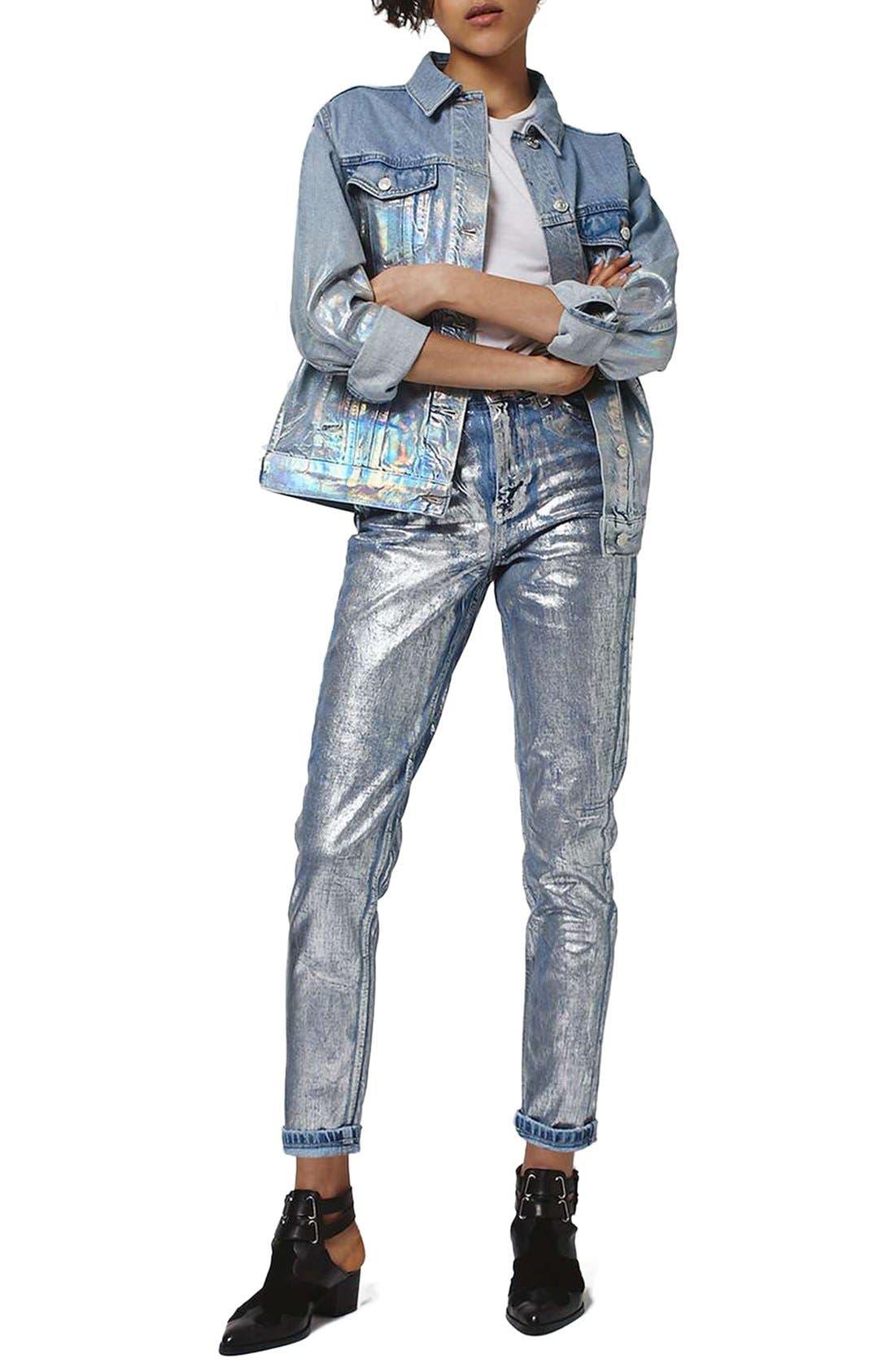 Main Image - Topshop Ombré Foil Oversize Denim Jacket