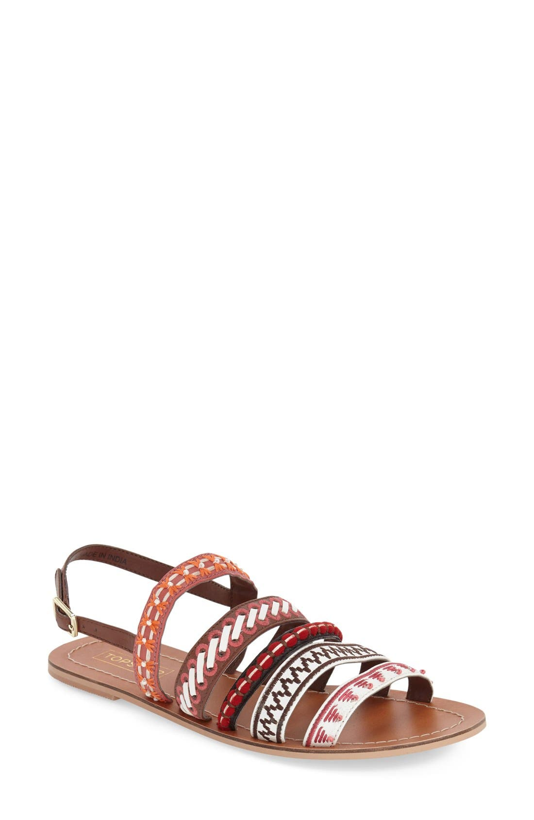 Alternate Image 1 Selected - Topshop 'Harmony' Mixed Strap Sandal (Women)