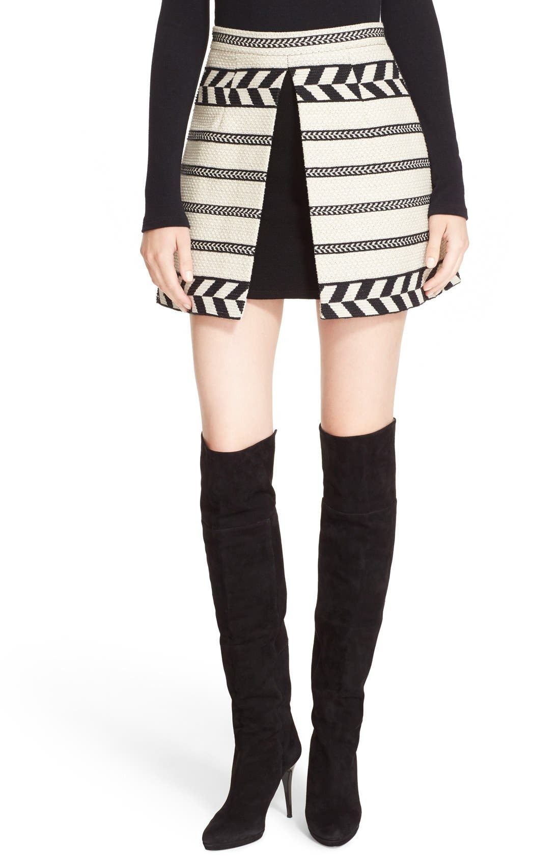 Alternate Image 1 Selected - Alice + Olivia 'Daysi' Front Inset Jacquard Miniskirt