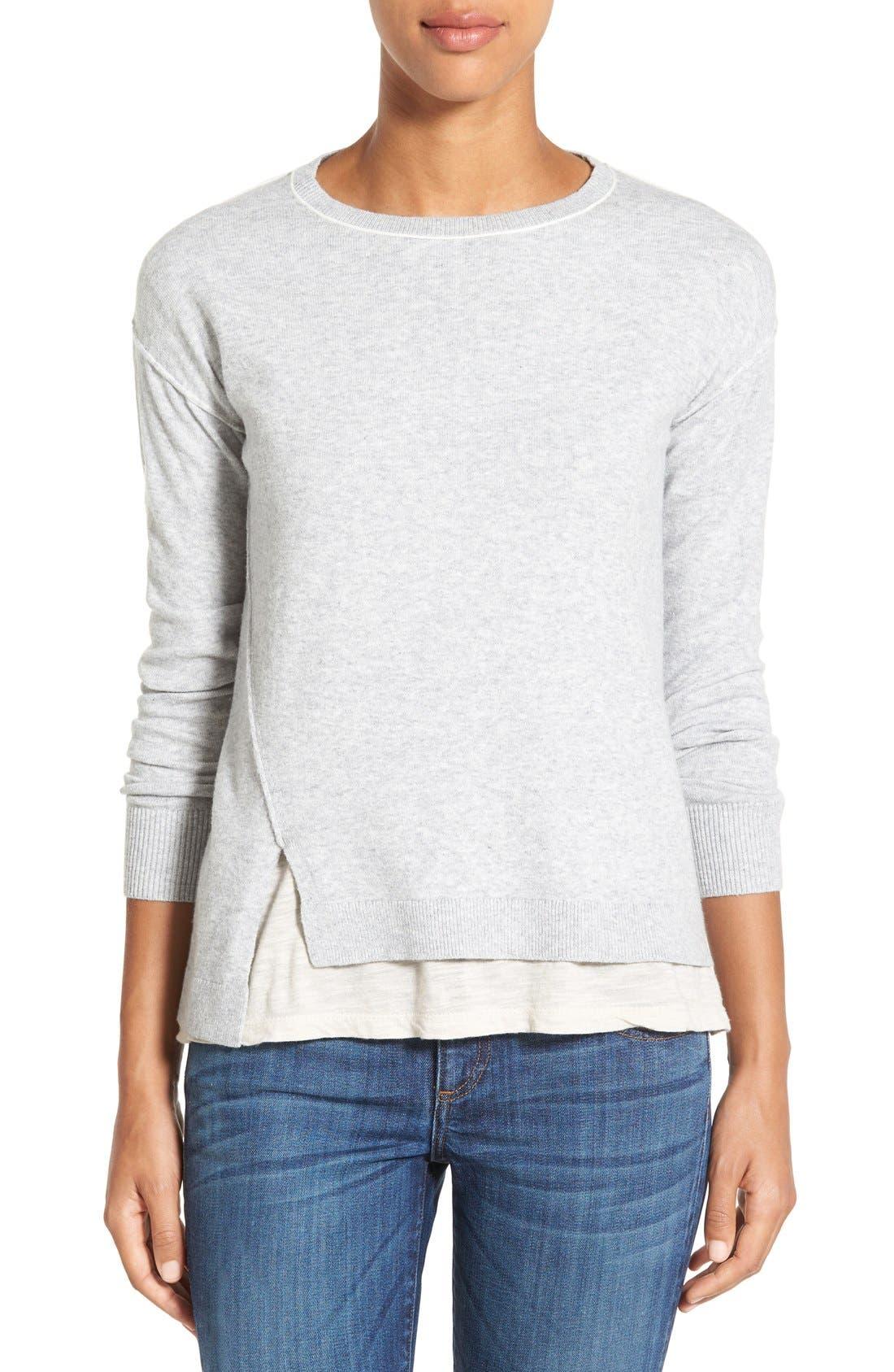 Alternate Image 1 Selected - Caslon® Relaxed Long Sleeve Sweater (Regular & Petite)