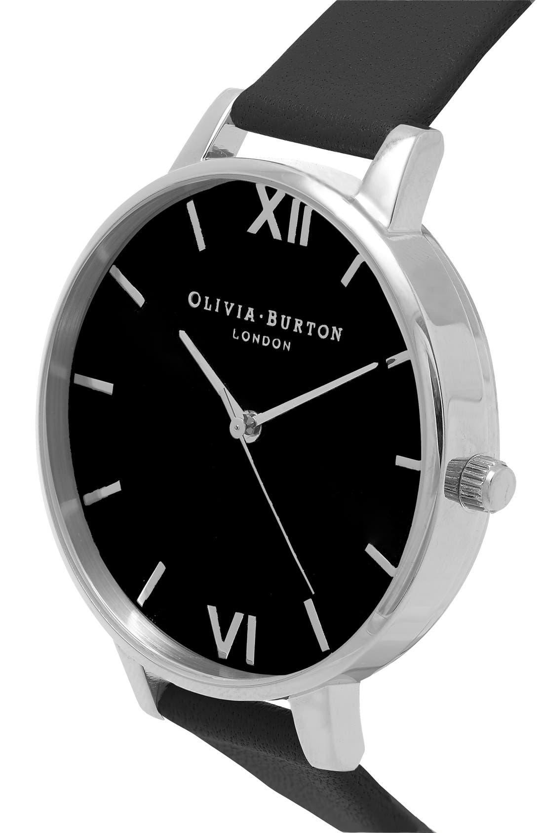 Alternate Image 2  - Olivia Burton Big Dial Leather Strap Watch, 38mm