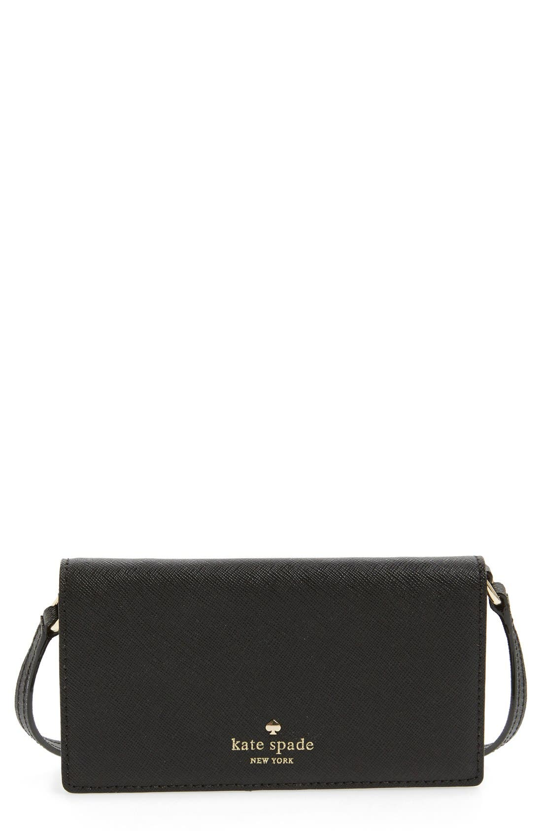 Alternate Image 1 Selected - kate spade new york iPhone 6 & 6s leather crossbody wallet