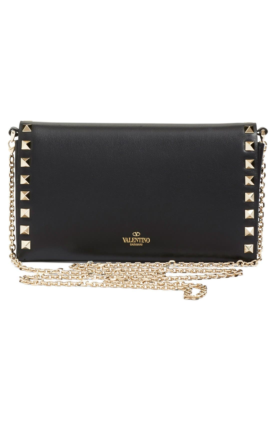 Alternate Image 2  - Valentino 'Rockstud' Calfskin Leather Wallet on a Chain