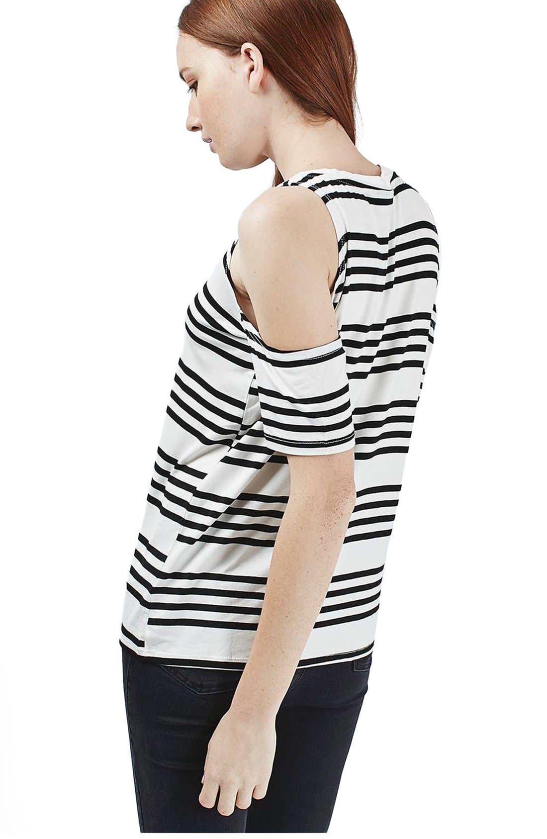 Alternate Image 3  - Topshop Stripe Cold Shoulder Tee