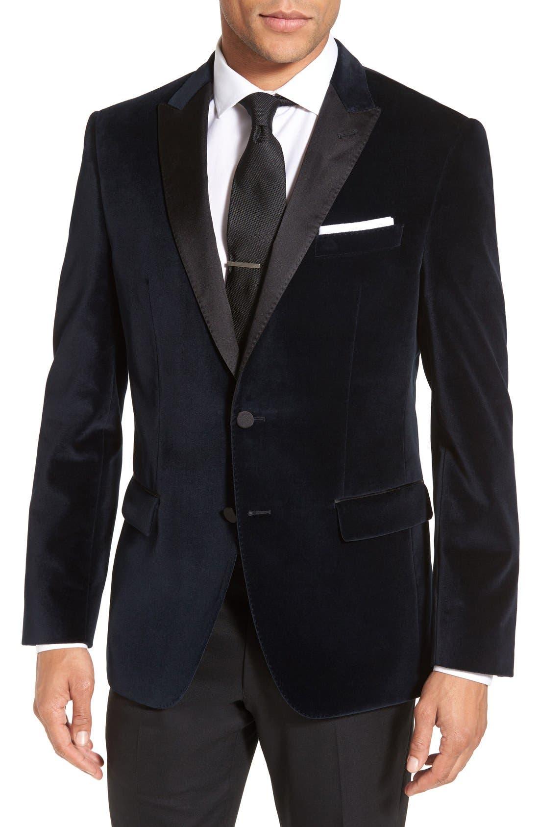 Alternate Image 1 Selected - BOSS 'Haimon' Trim Fit Velvet Dinner Jacket