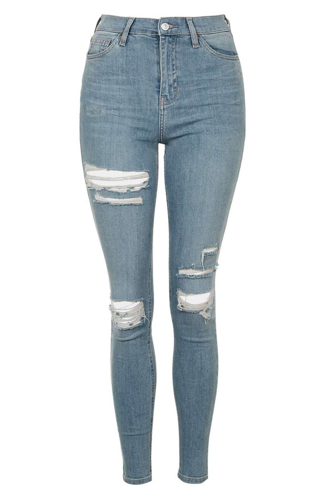 Alternate Image 4  - Topshop 'Jamie' Ripped Bleached Super Skinny Jeans
