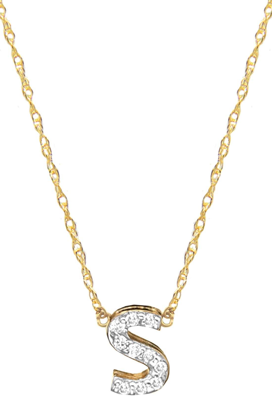 Jane Basch Diamond Initial Pendant Necklace