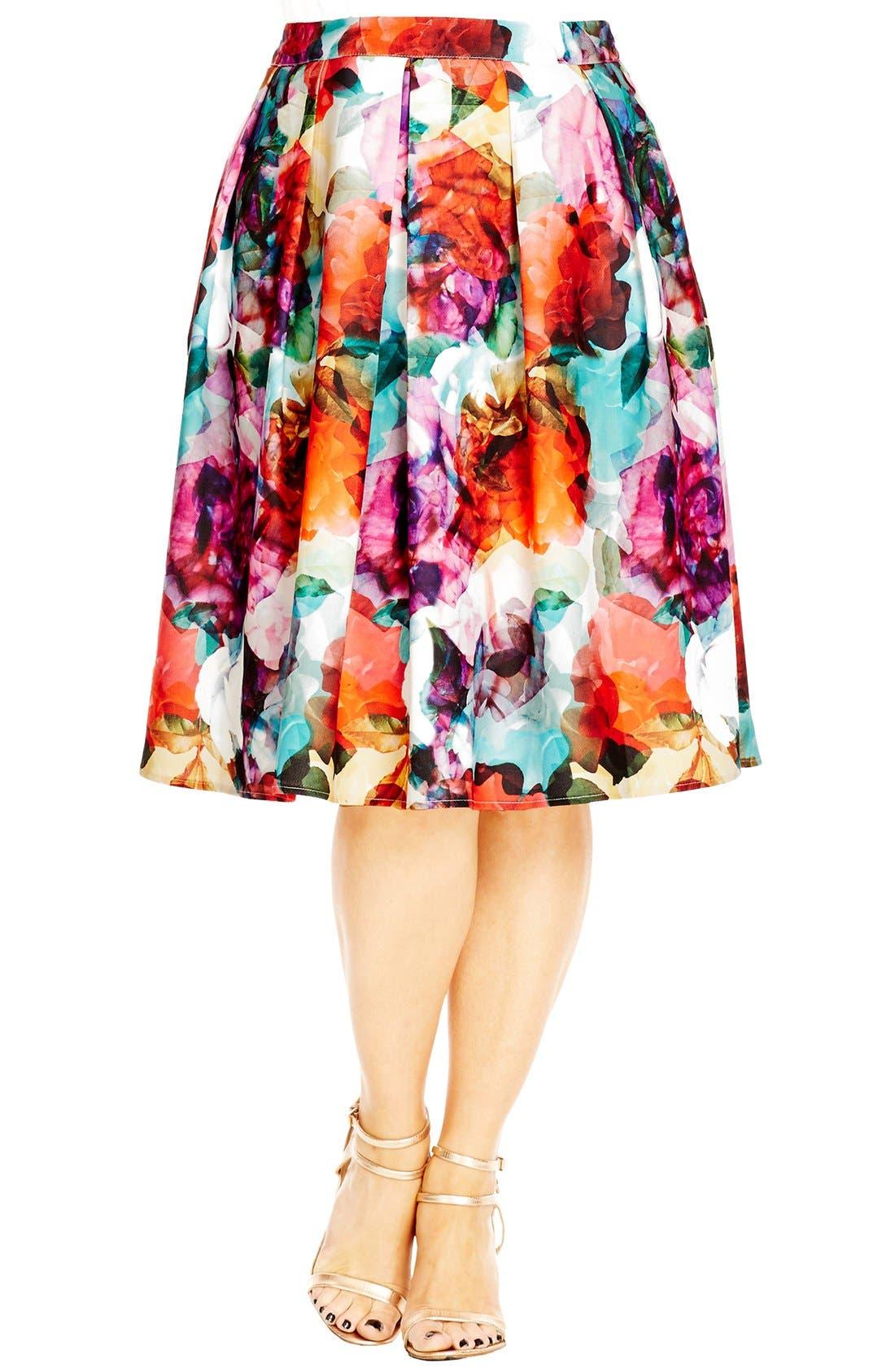 Main Image - City Chic 'Bright Pop' Floral Print Pleat Skirt (Plus Size)