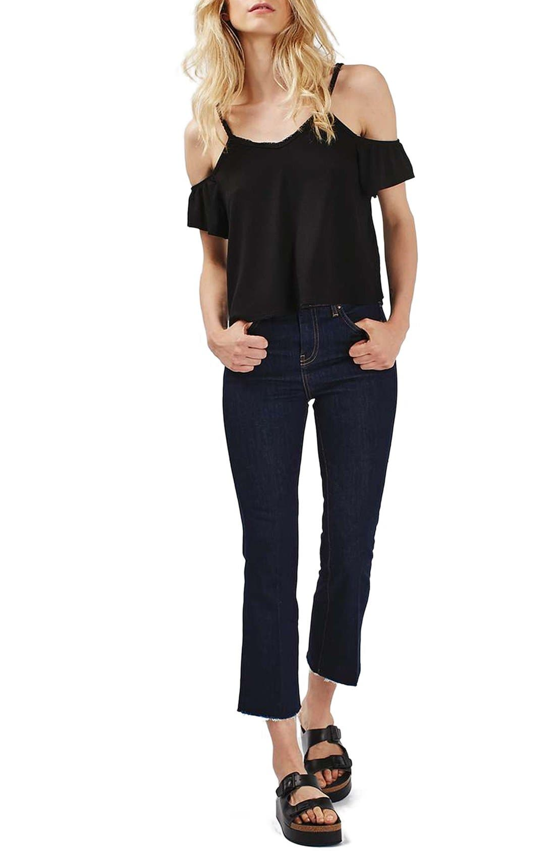 Main Image - Topshop Short Sleeve Ruffle Bardot Top (Regular & Petite)