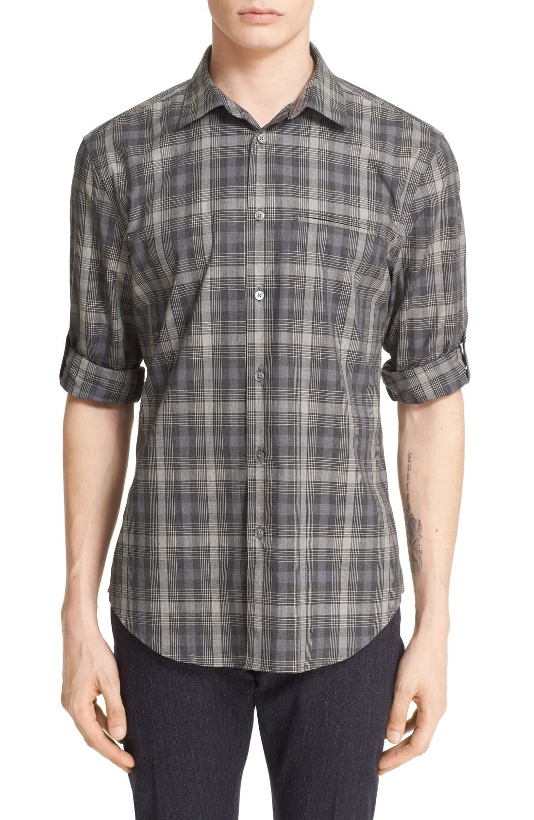 JOHN VARVATOS COLLECTION Slim Fit Check Sport Shirt
