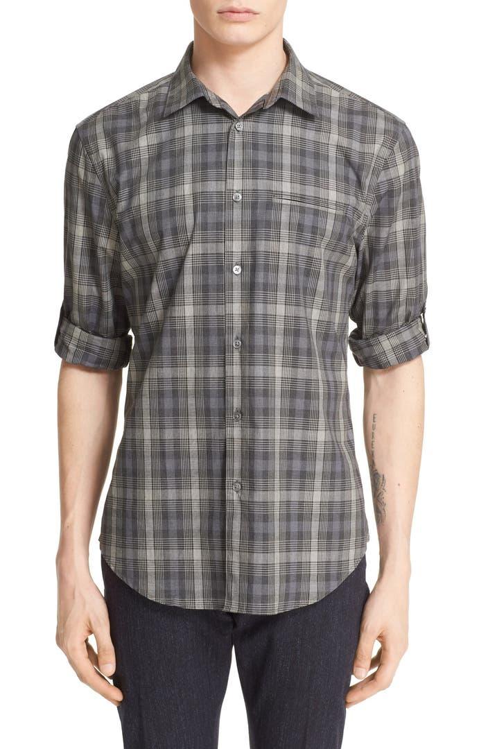John varvatos collection slim fit check sport shirt for Slim fit check shirt