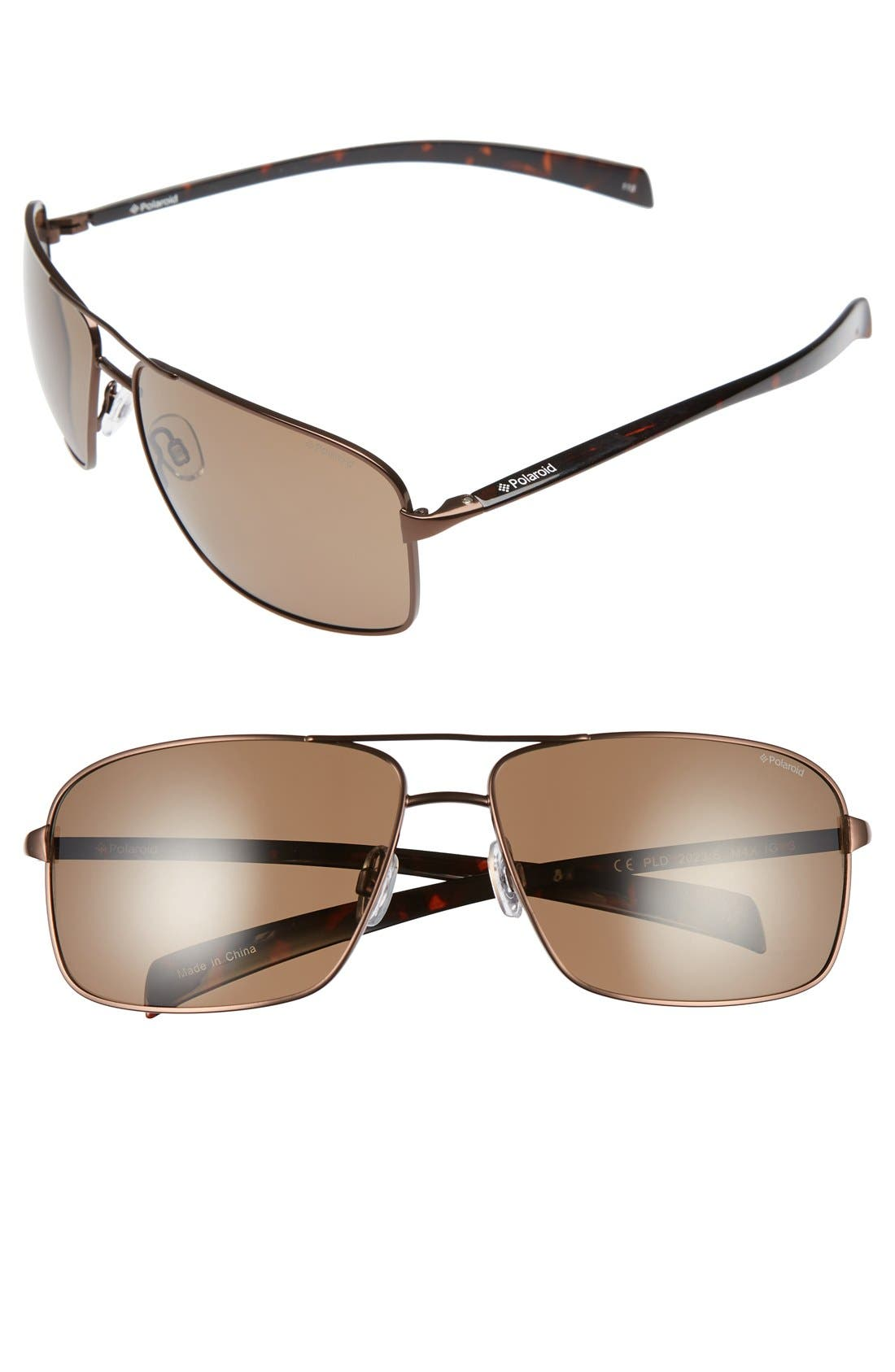 POLAROID EYEWEAR 64mm Polarized Aviator Sunglasses