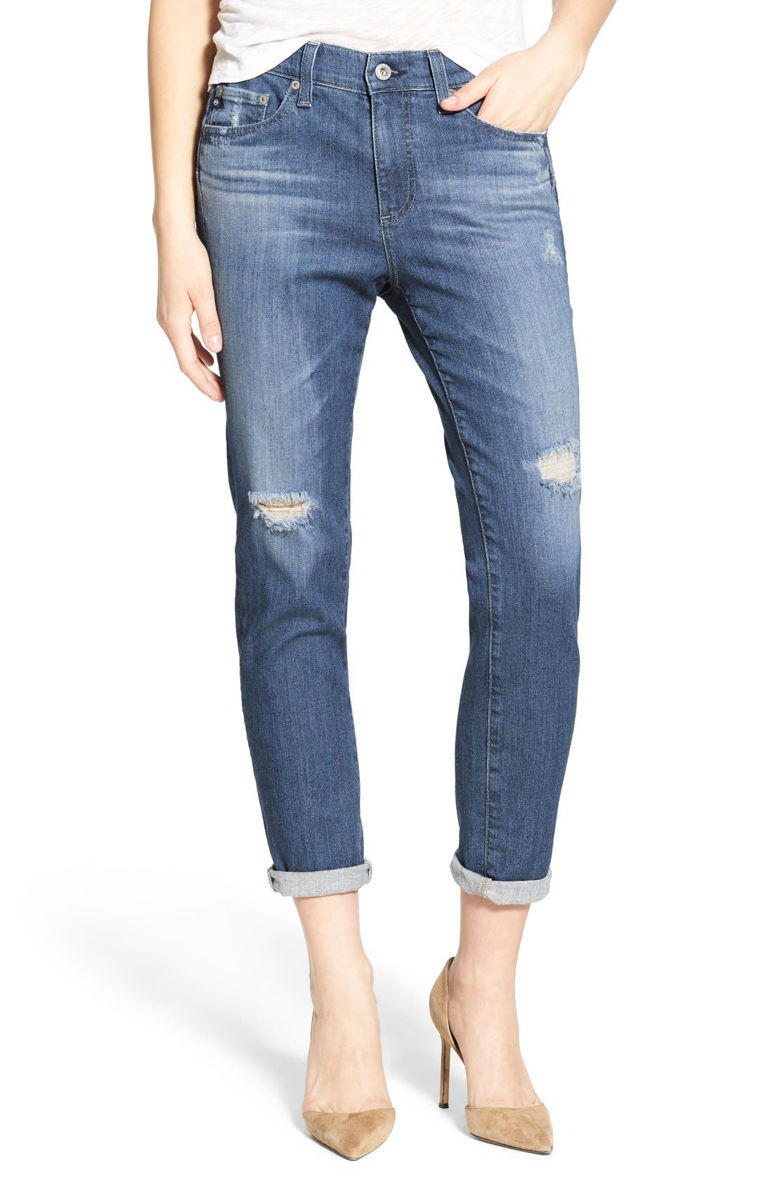 Alternate Image 1 Selected - AG 'The Beau' High Rise Slouchy Skinny Jeans (Dunes Destroyed)