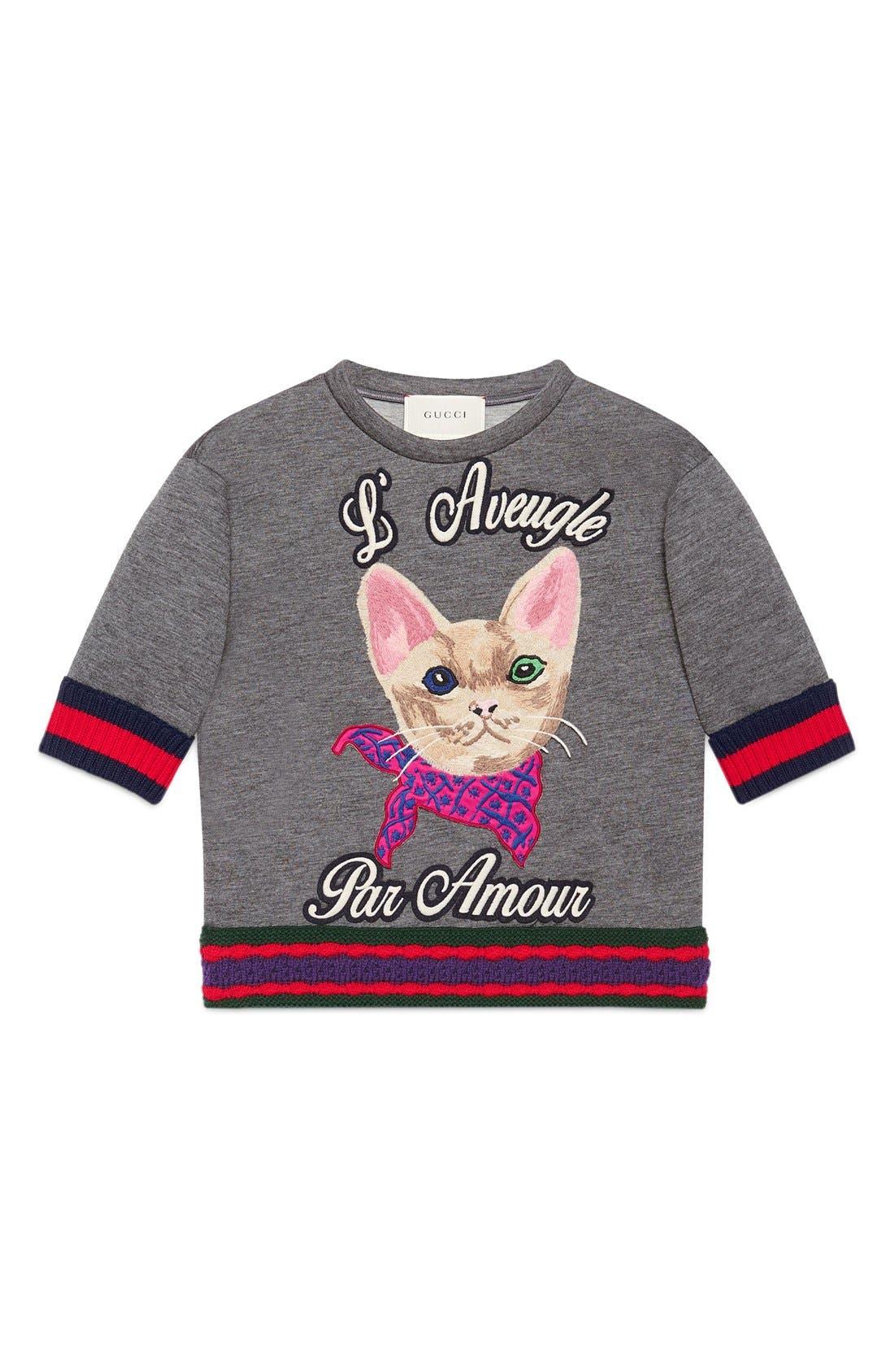 Gucci 'L'Aveugle Par Amour' Kitten Appliqué Sweatshirt (Little Girls & Big Girls)