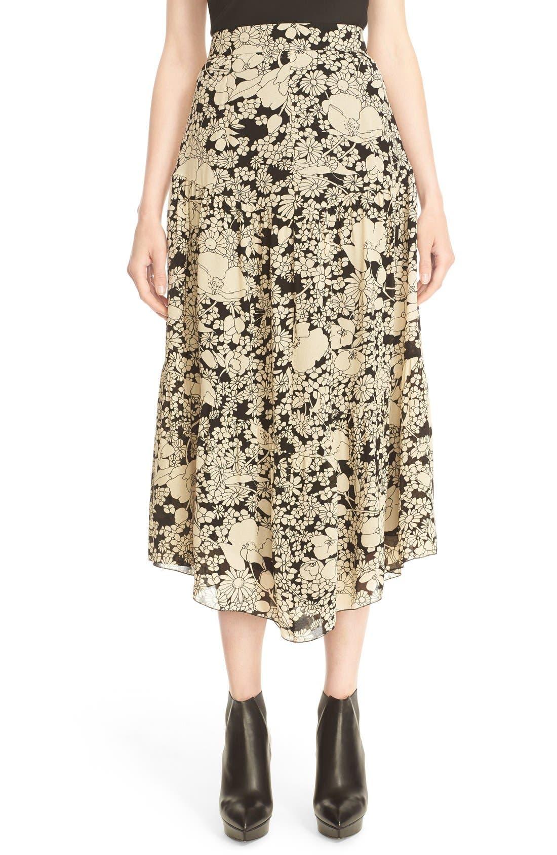 Main Image - Saint Laurent Floral Print Crepe Midi Skirt