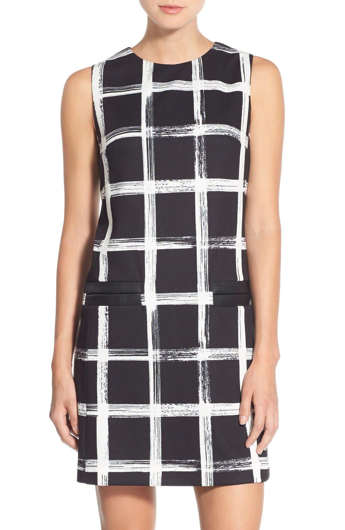 Alternate Image 1 Selected - Eliza J Windowpane Print Ponte Shift Dress (Regular & Petite)