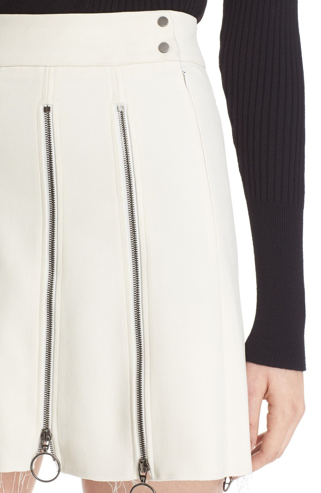 Alternate Image 6  - Etienne Deroeux 'Tania' Zip Detail Miniskirt