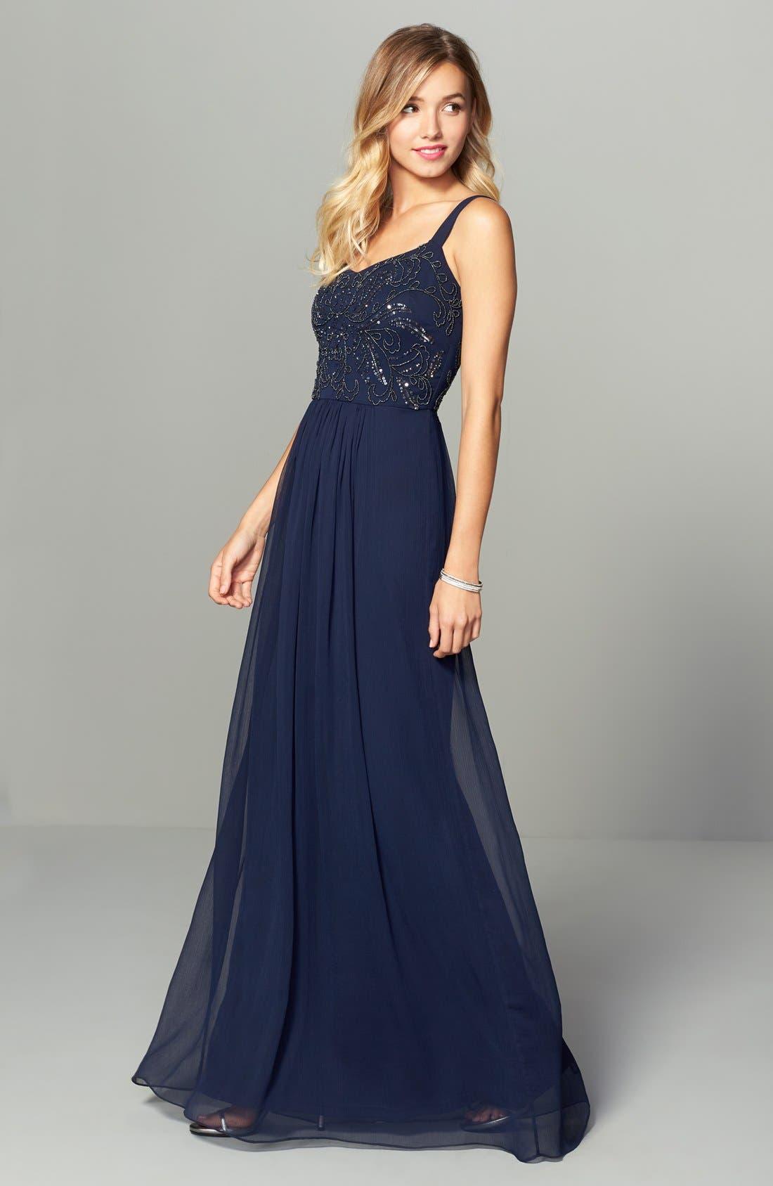 Alternate Image 2  - Adrianna Papell Embellished Bodice Chiffon Gown