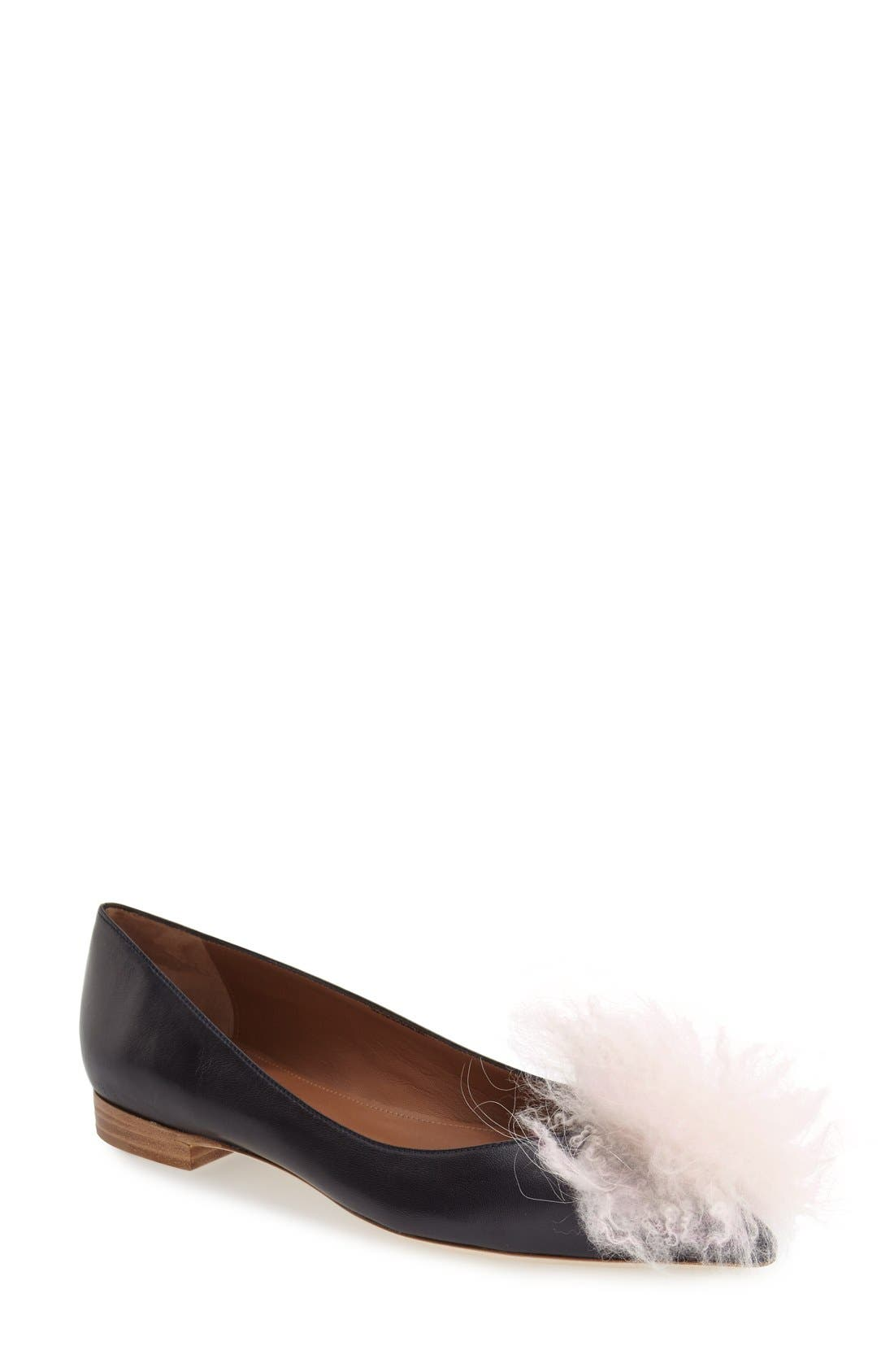 MALONE SOULIERS 'Penny' Genuine Goat Fur Flat