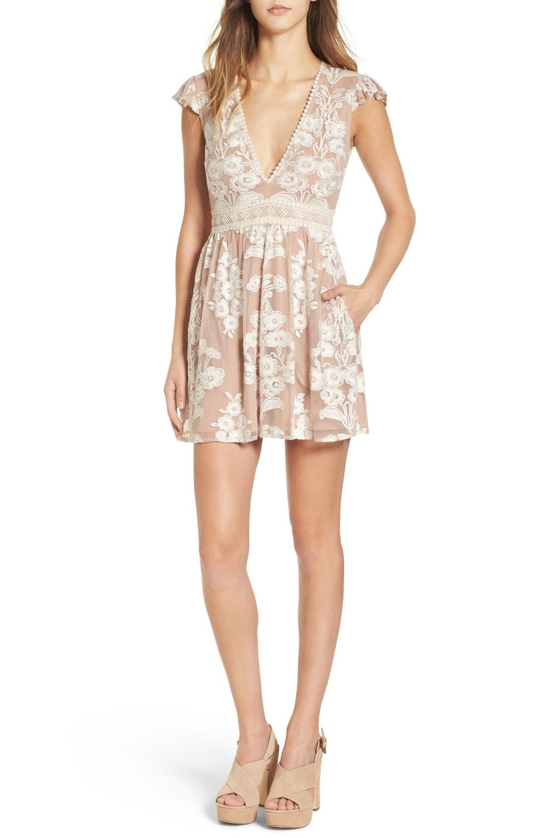 Main Image - For Love & Lemons x Nordstrom 'Salud' Embroidered Mesh Minidress (Nordstrom Exclusive)