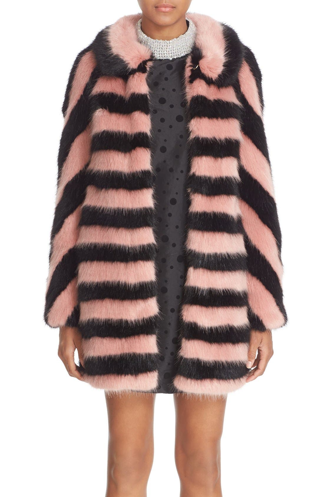 Alternate Image 1  - Shrimps 'Jean' Stripe Faux Fur Coat