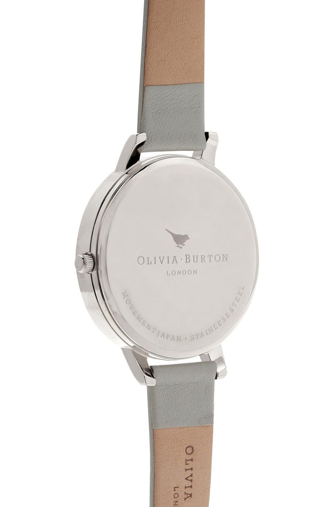 Alternate Image 2  - Olivia Burton Enchanted Garden Leather Strap Watch, 38mm
