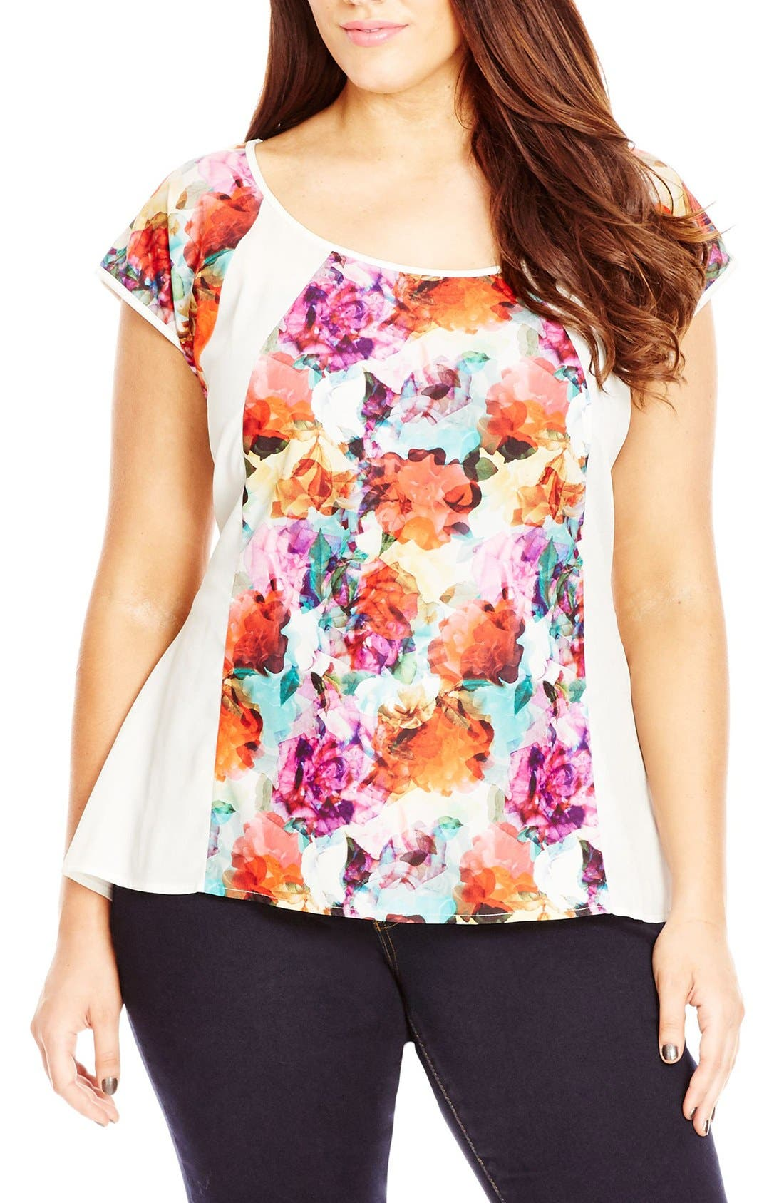 City Chic 'Water Floral' Print Top (Plus Size)