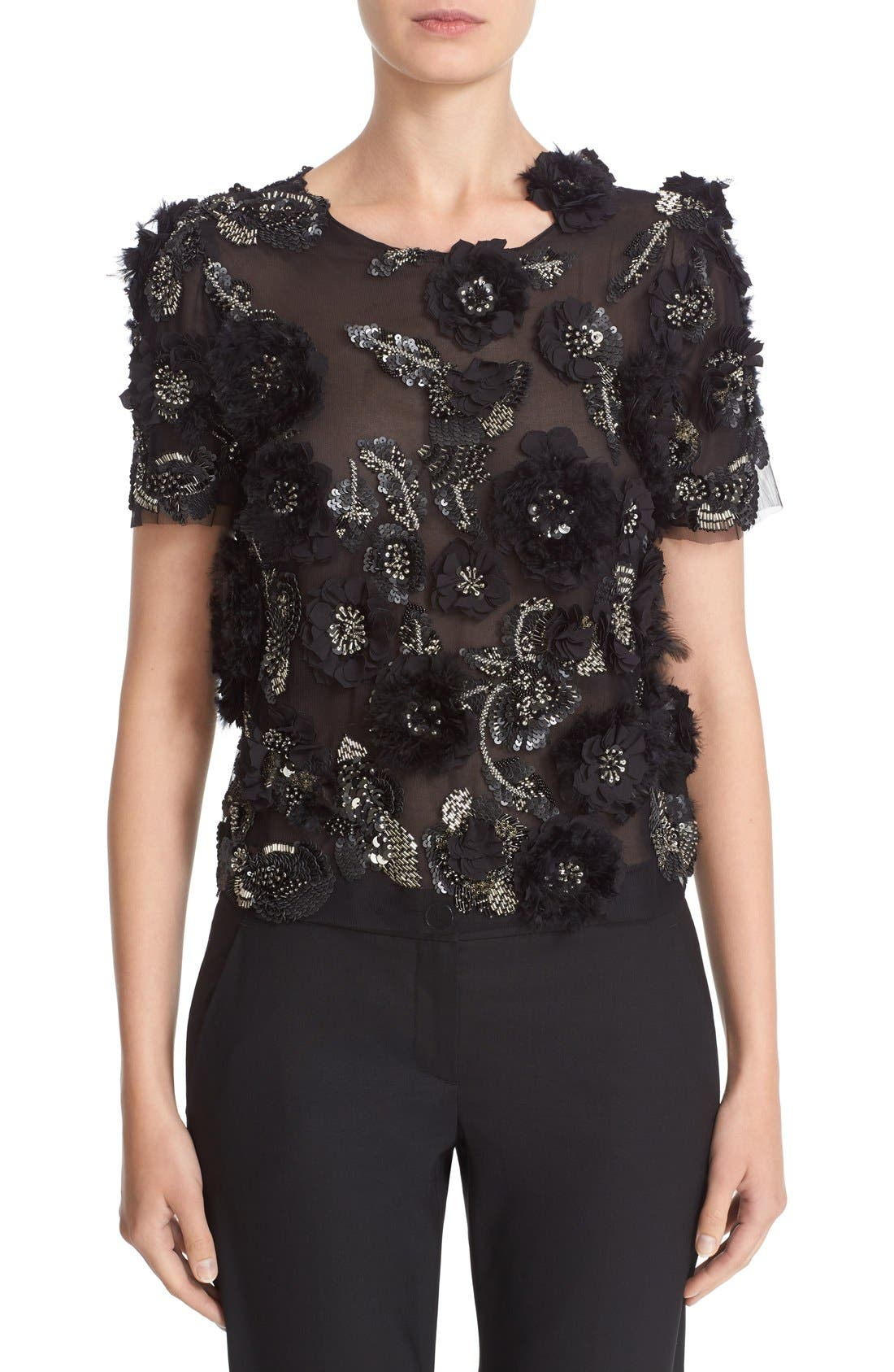 MARCHESA 3D Floral Embellished Tulle Top