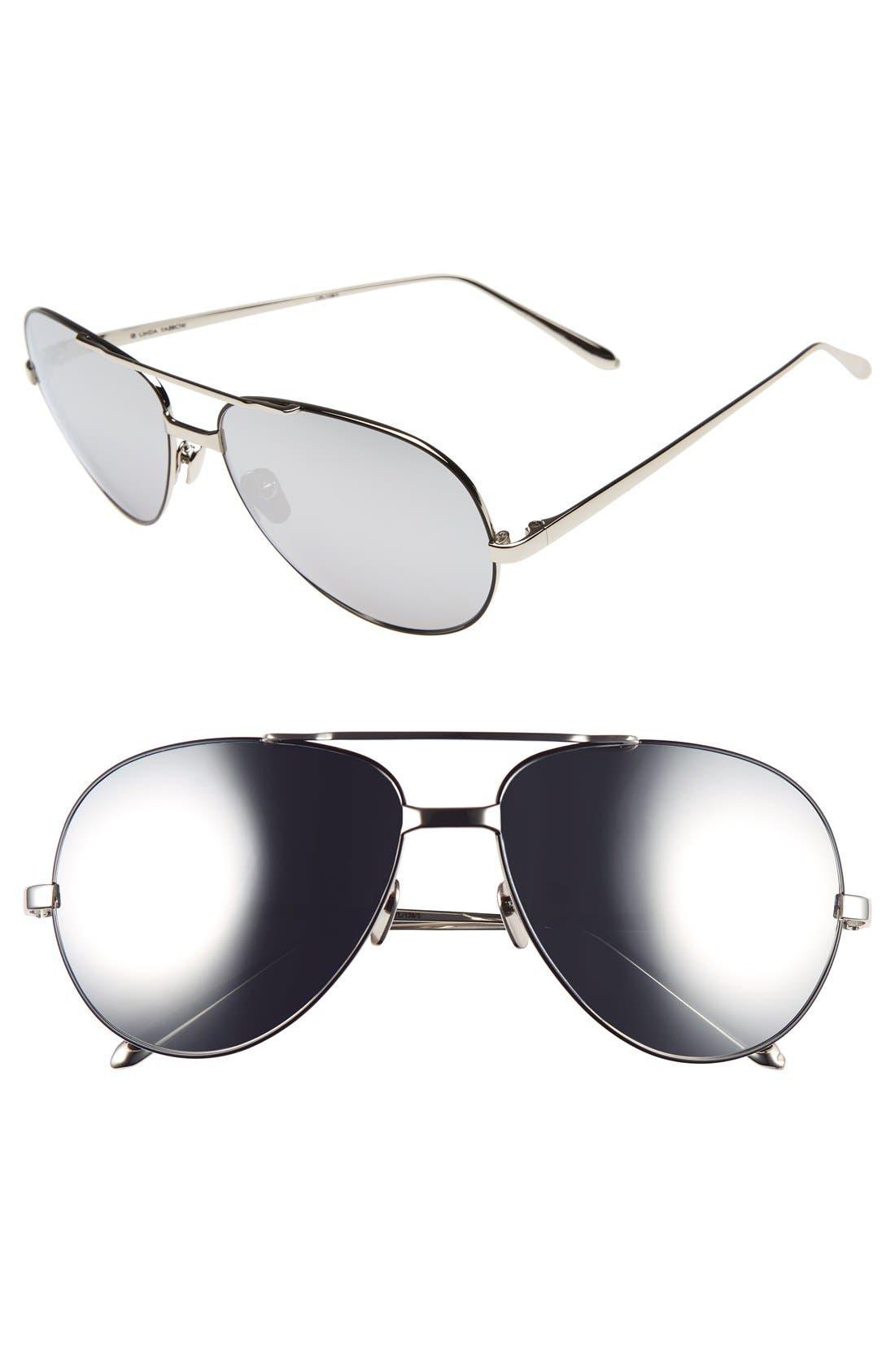 Linda Farrow 59mm 18 Karat White Gold Trim Aviator Sunglasses