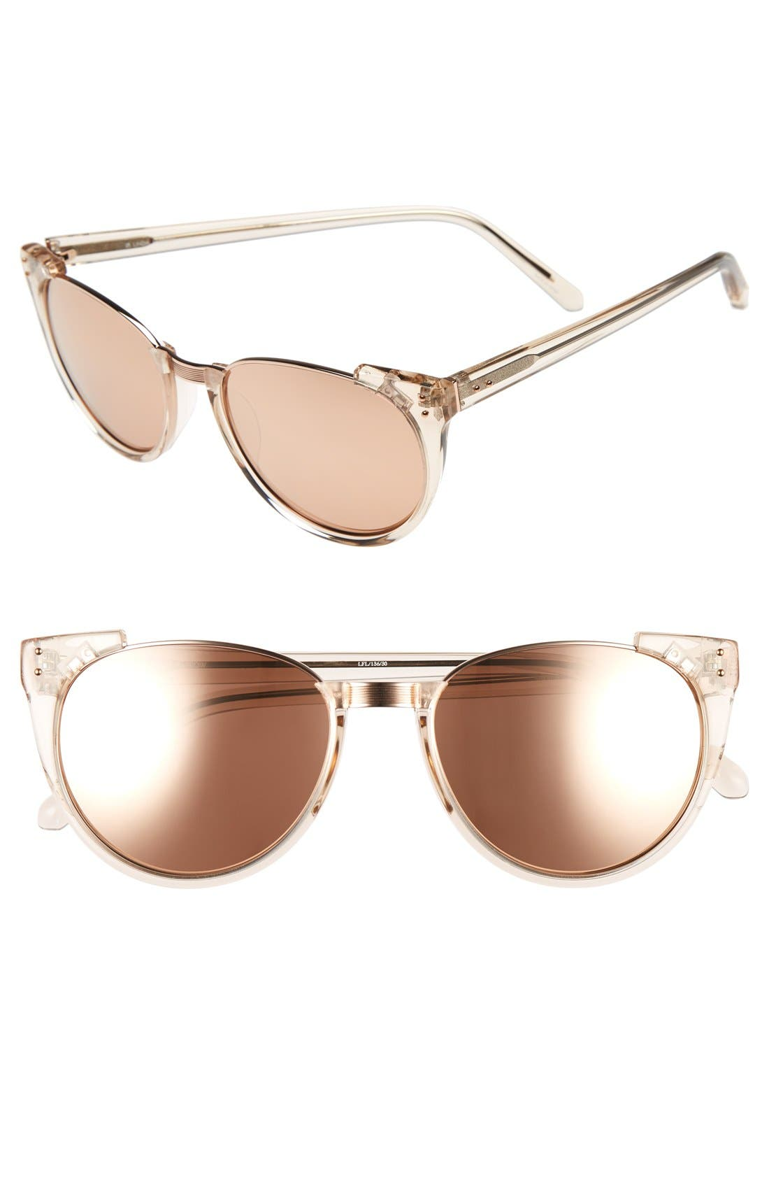 Linda Farrow 54mm 18 Karat Rose Gold Trim Retro Sunglasses