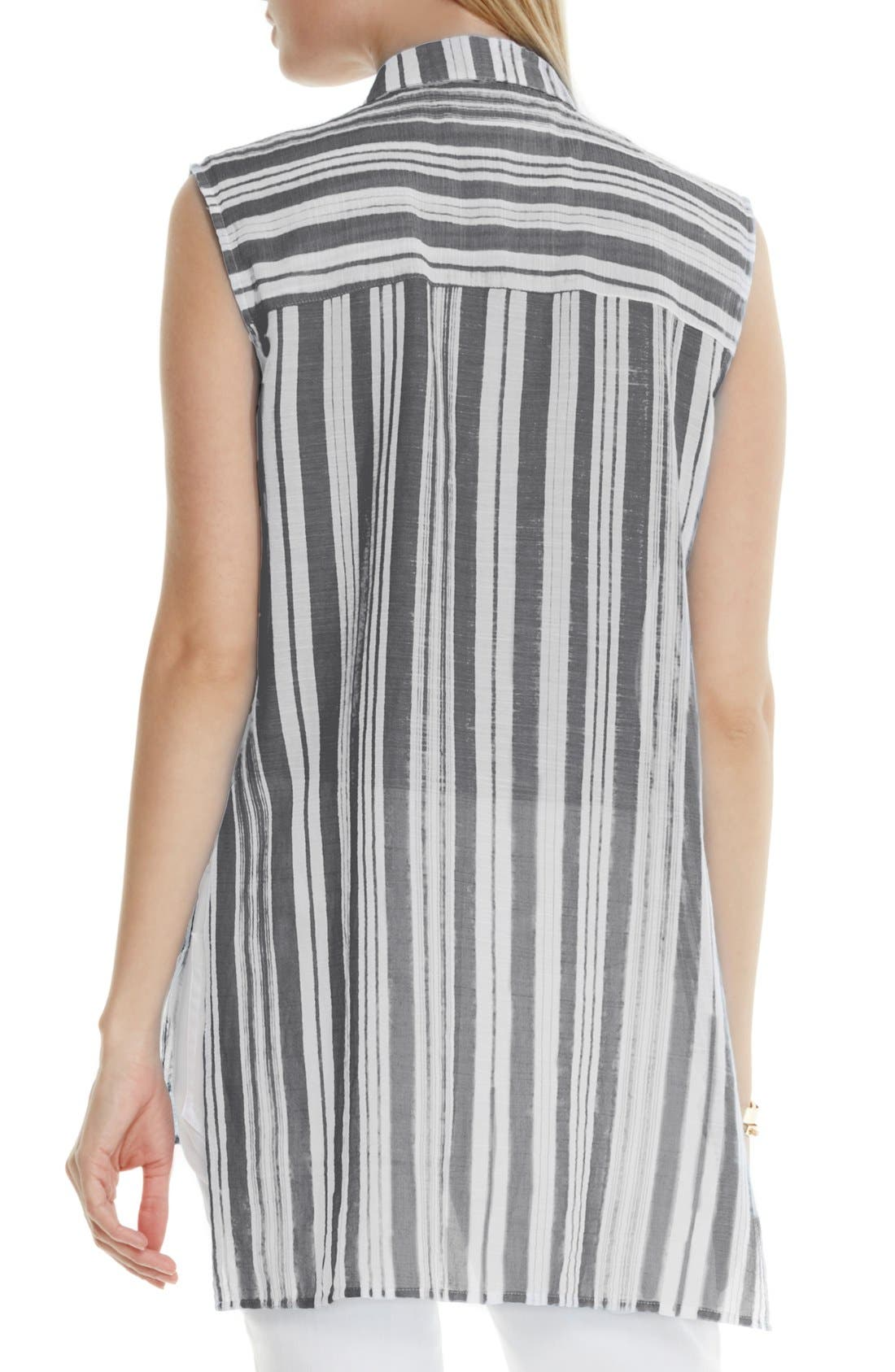 Alternate Image 3  - Two by Vince Camuto Sheer Stripe Sleeveless Blouse