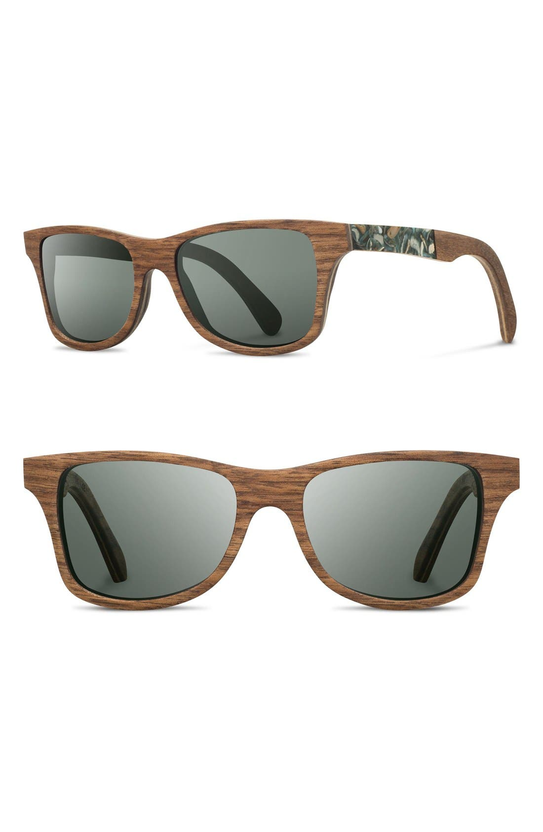 SHWOOD 'Canby' 55mm Polarized Wood & Seashell Inlay