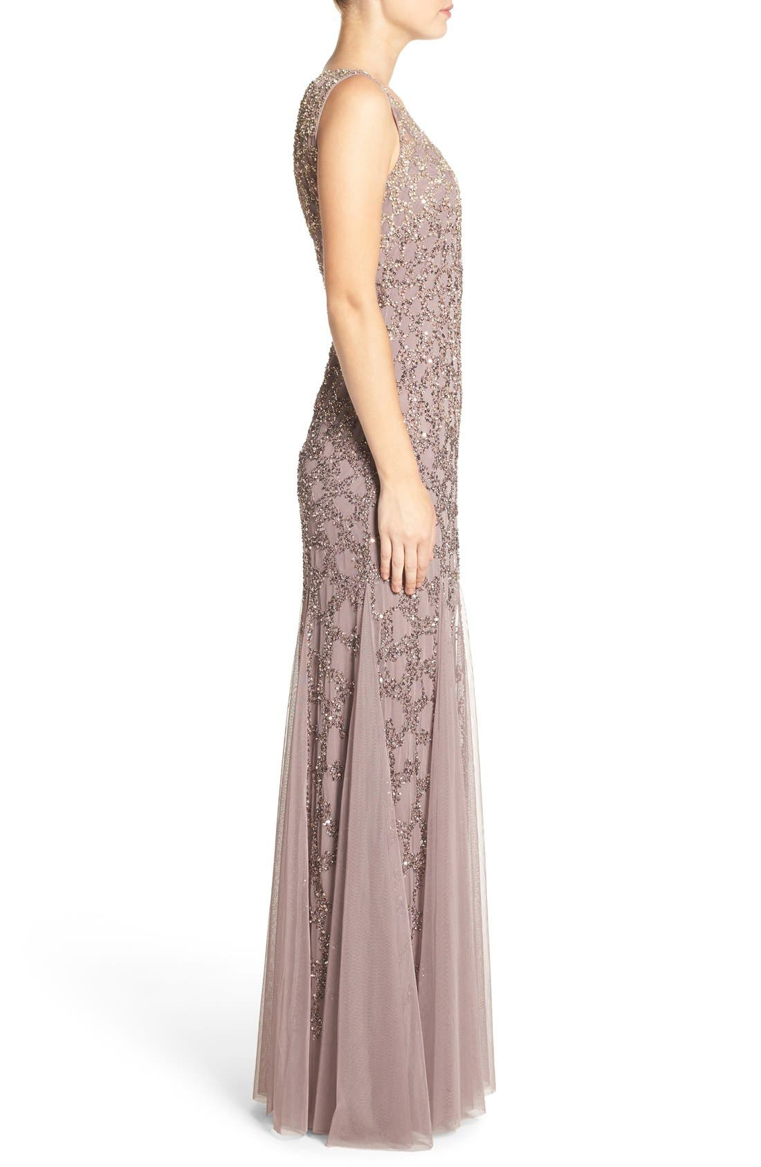 Alternate Image 3  - Adrianna Papell Pleated Beaded Gown