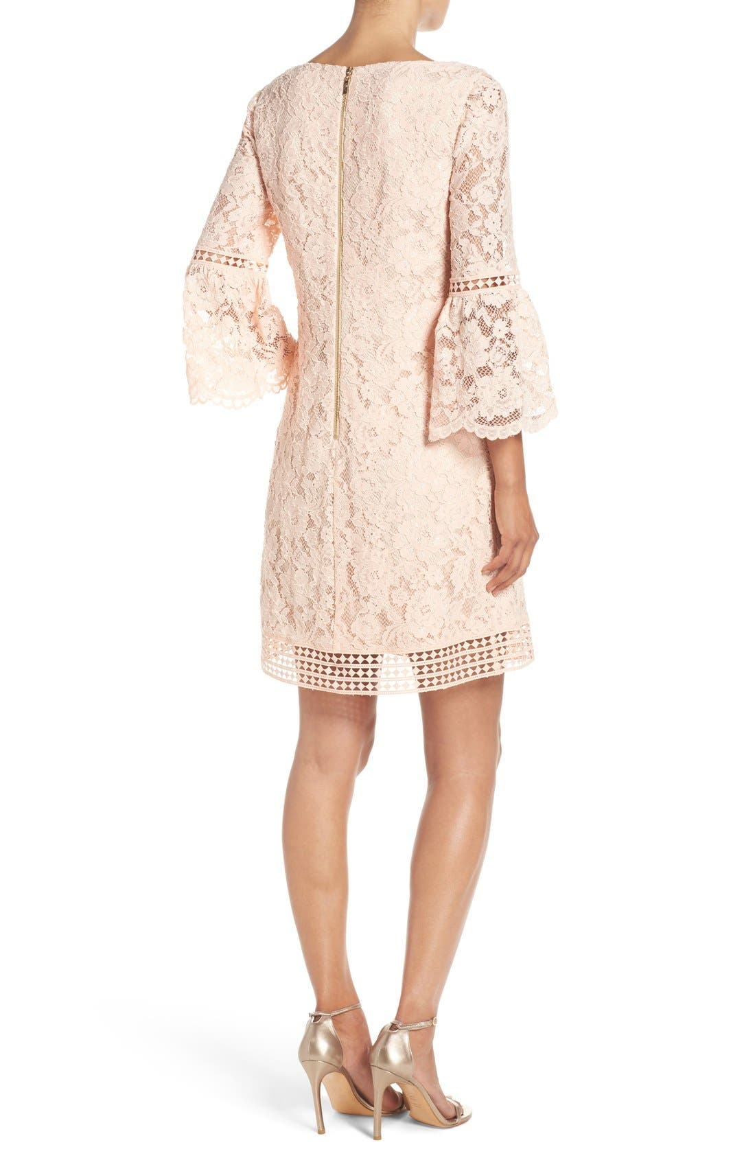 Alternate Image 2  - Eliza J Bell Sleeve Lace Shift Dress (Regular & Petite)