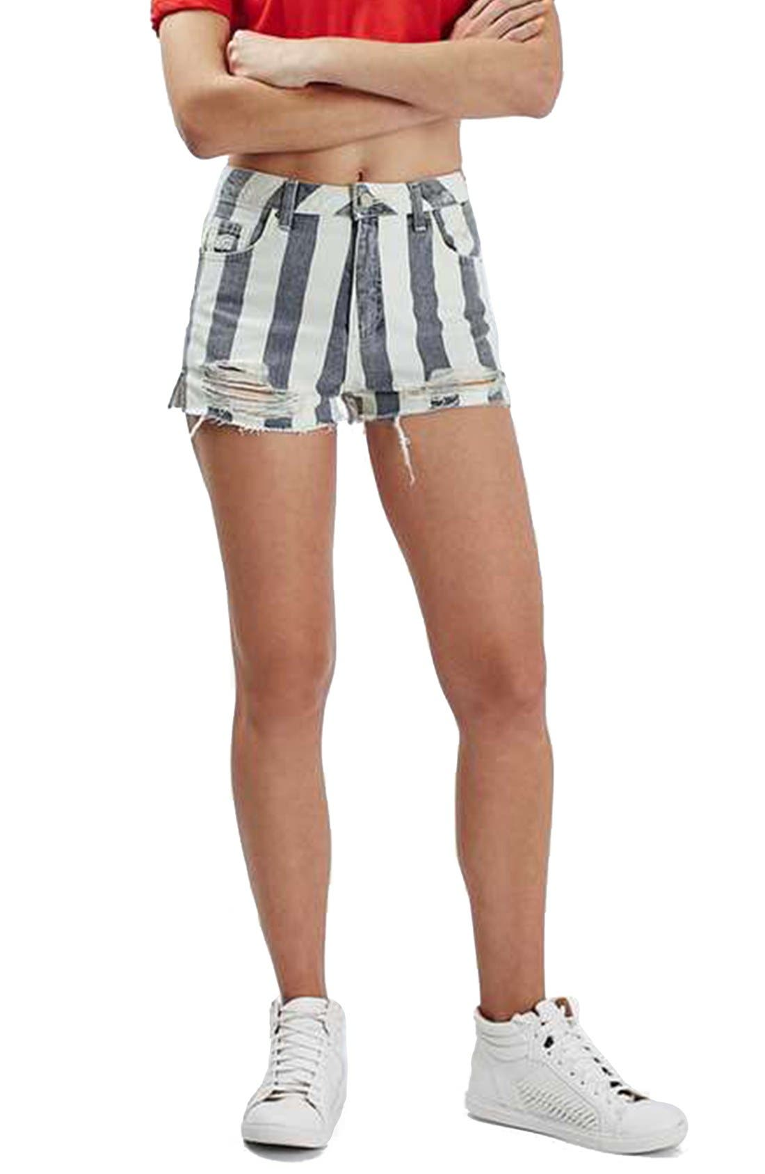 Main Image - Topshop Stripe Distressed Denim Shorts