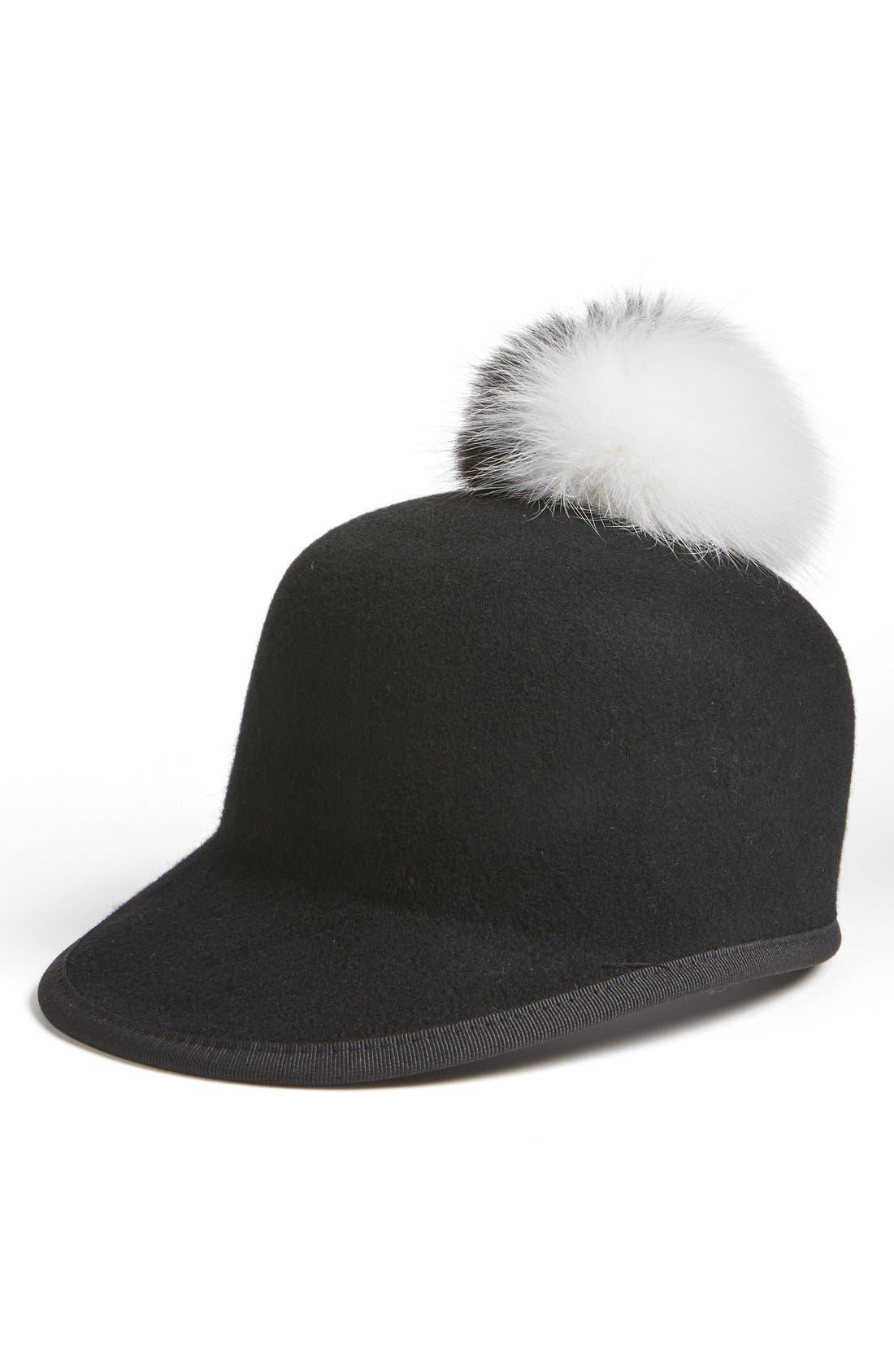 Main Image - Helene Berman Genuine Fox Fur Pompom & Wool Cap