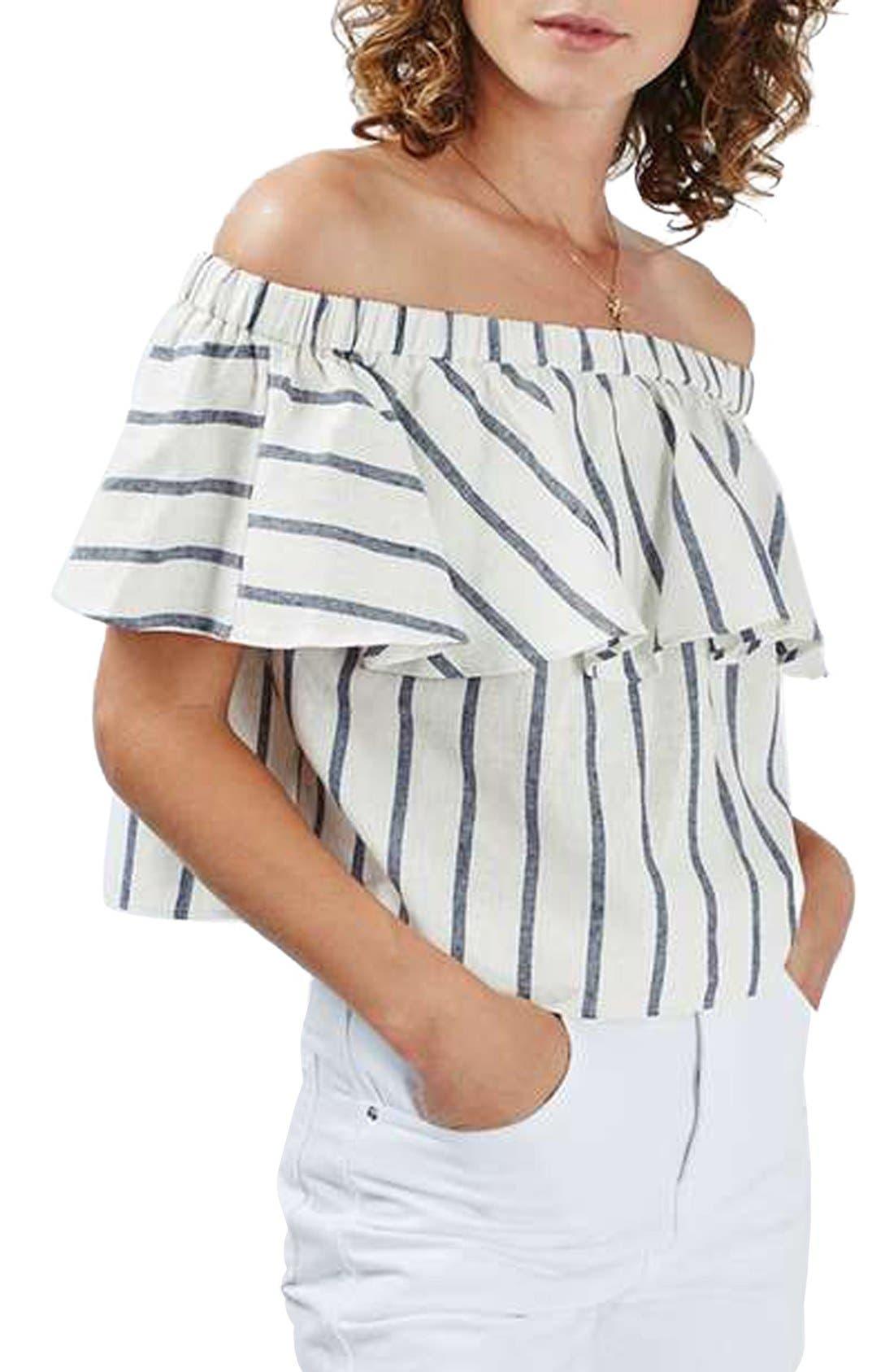 Main Image - Topshop Stripe Off the Shoulder Crop Top