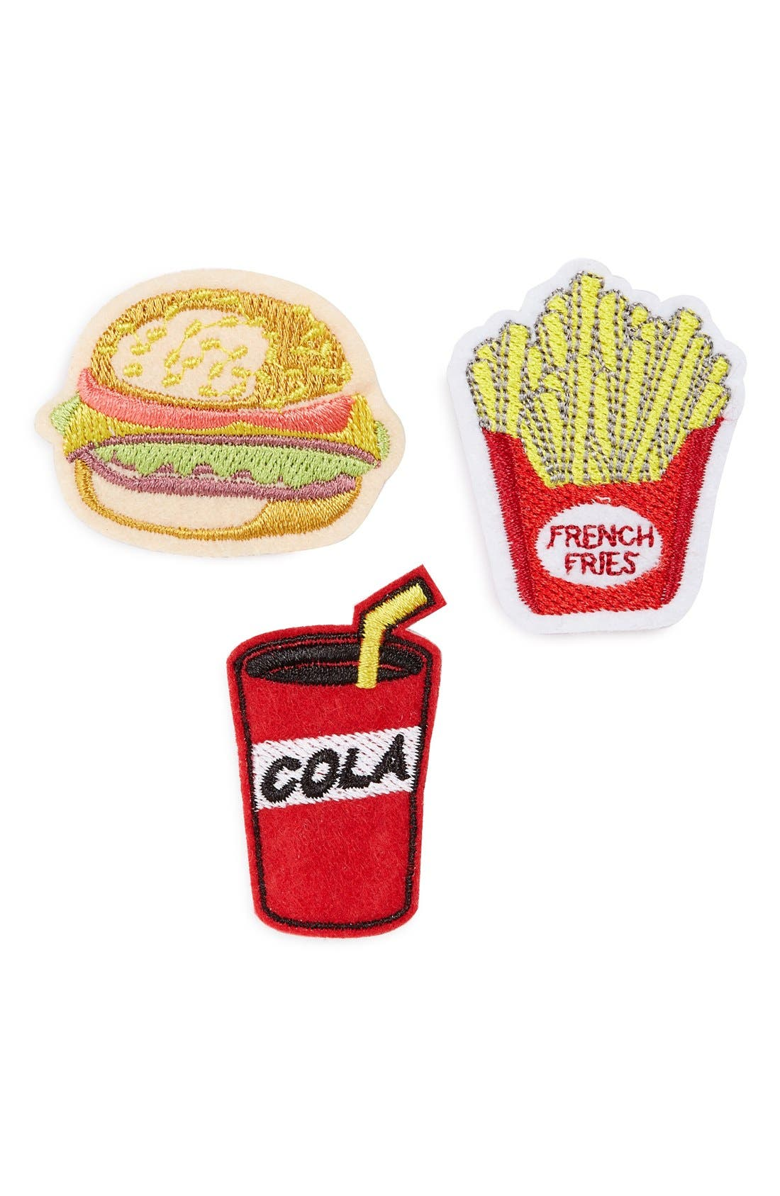 Main Image - Topshop 'Fast Food' Embroidered Brooches (Set of 3)