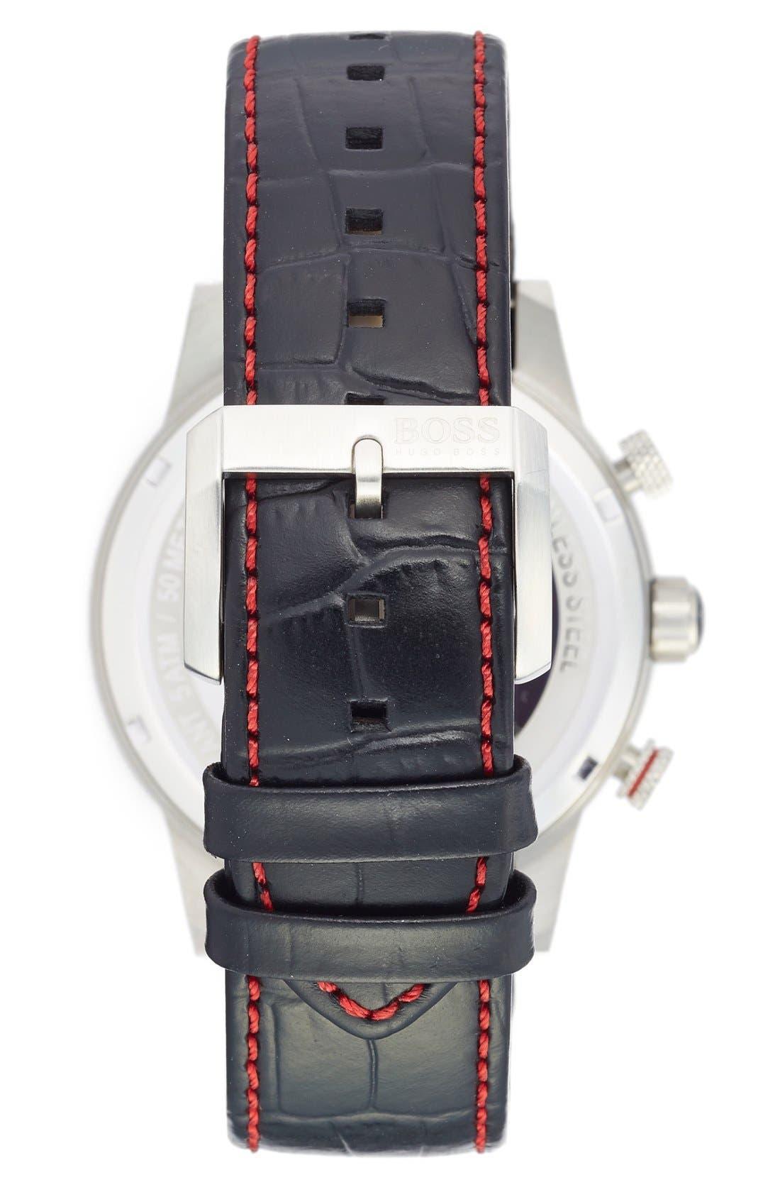 Alternate Image 2  - BOSS 'Rafale' Chronograph Leather Strap Watch, 44mm