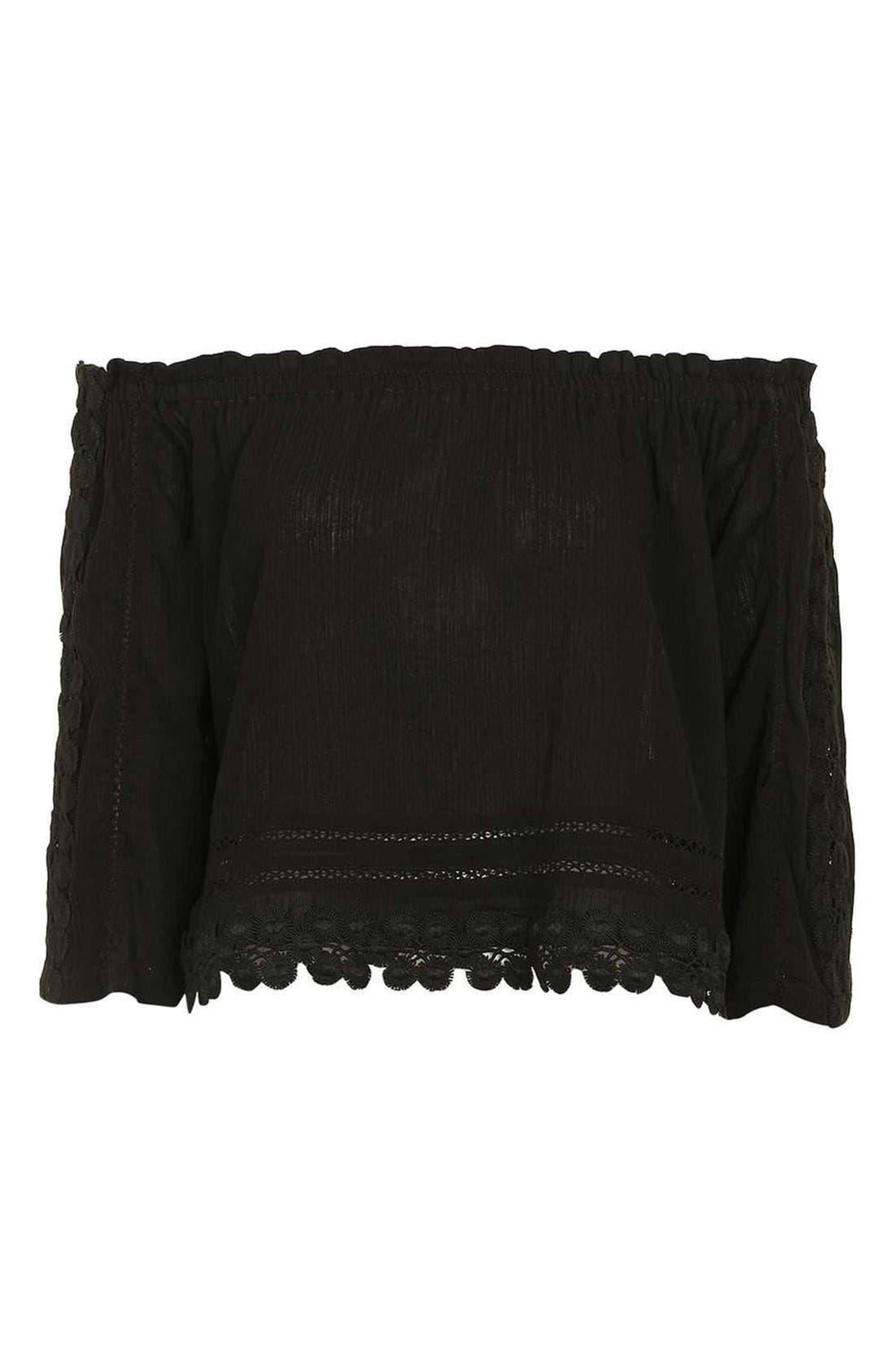 Alternate Image 4  - Topshop Crochet Trim Bardot Top