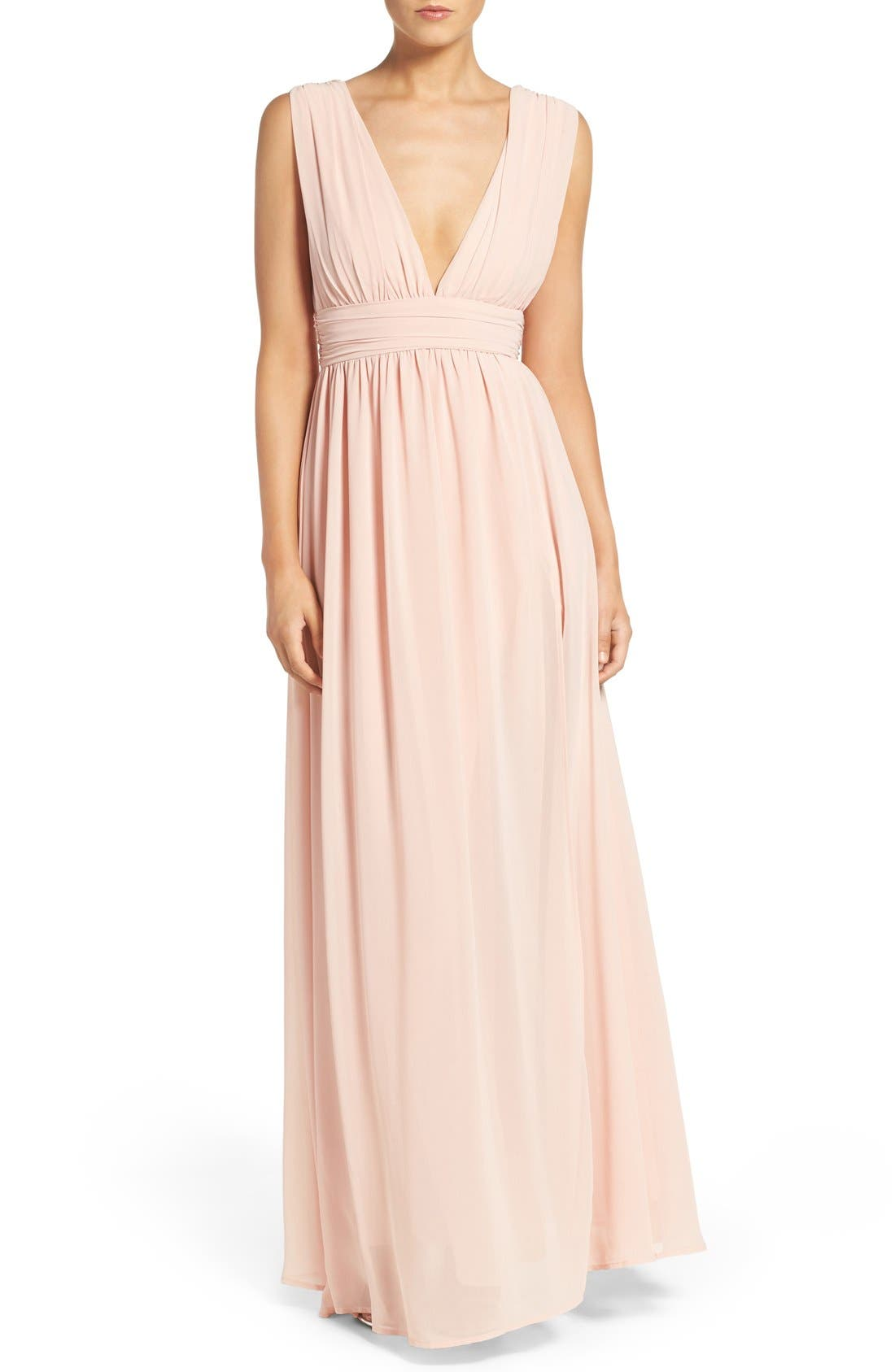 Alternate Image 1 Selected - Lulus Plunging V-Neck Chiffon Gown