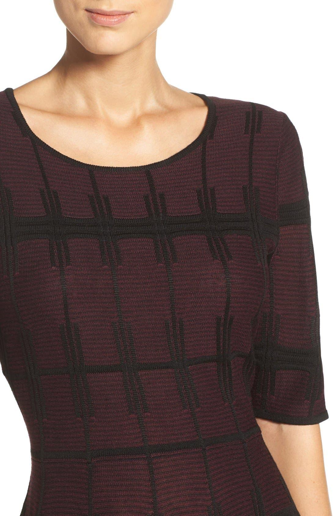 Alternate Image 5  - Ivanka Trump Plaid Sweater Knit Fit & Flare Dress