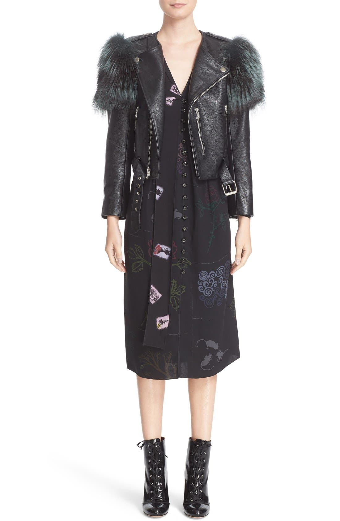 Alternate Image 7  - MARC JACOBS Leather Moto Jacket with Genuine Fox Fur Trim