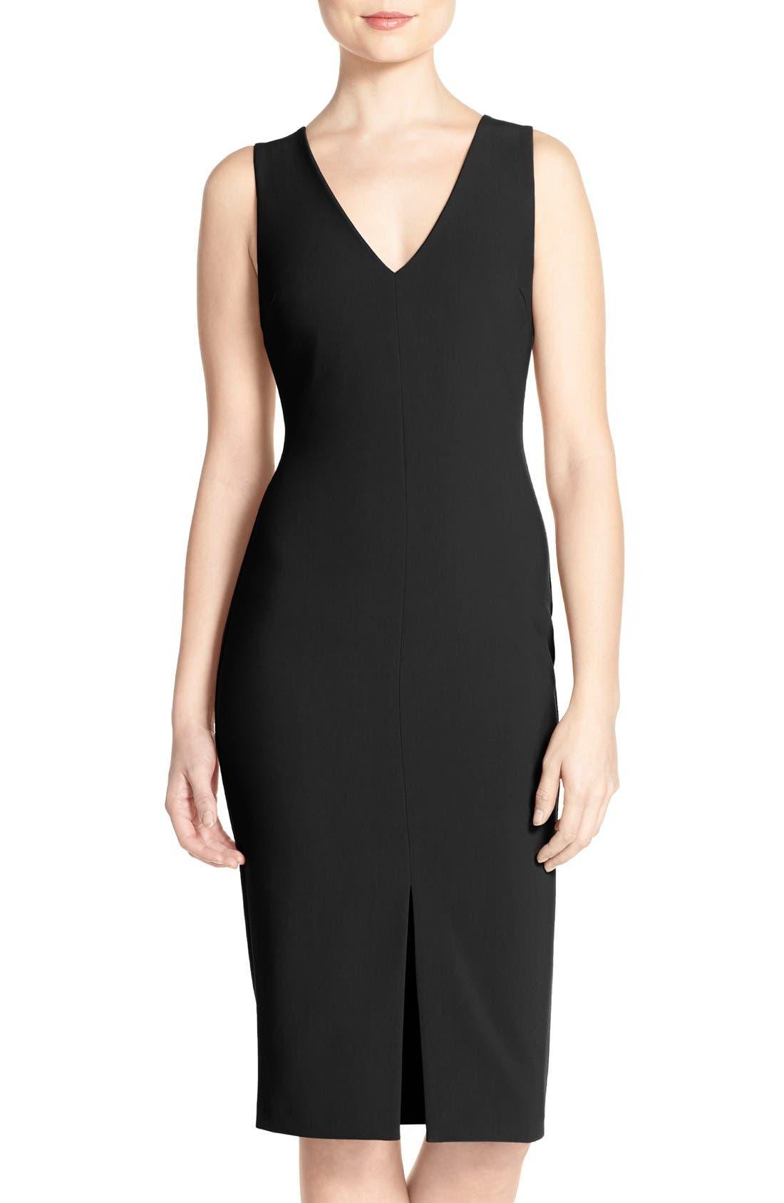 LIKELY 'Park' V-Neck Sheath Midi Dress