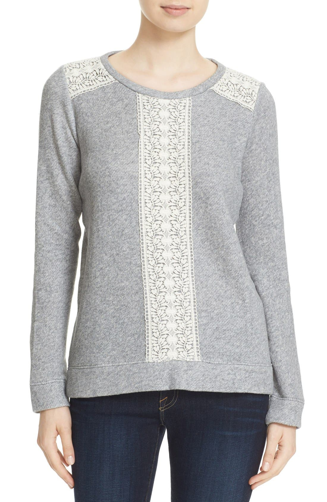 Alternate Image 1 Selected - Soft Joie Crewneck Lace Trim Sweater