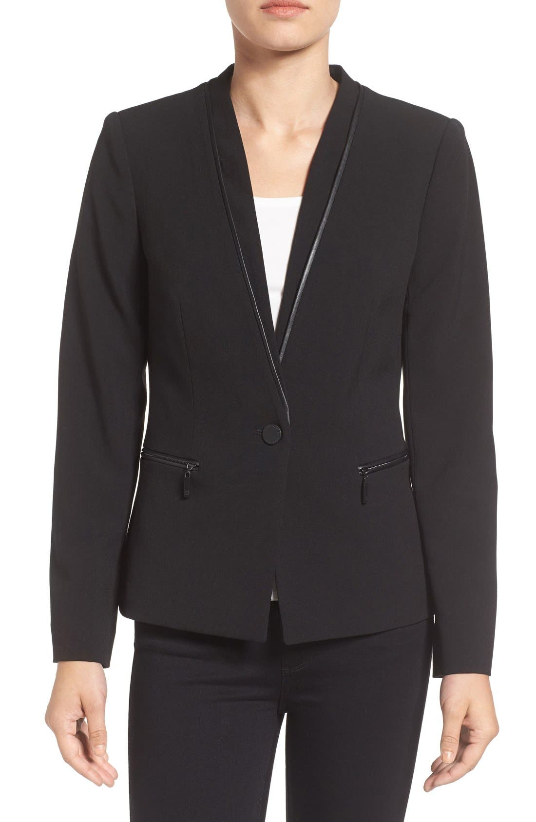 Alternate Image 1 Selected - Ivanka Trump Faux Leather Trim Suit Jacket