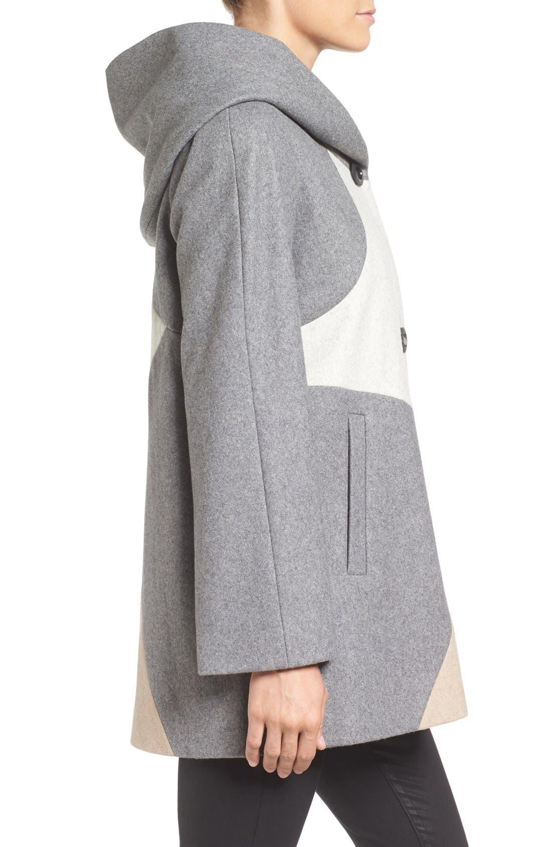 Alternate Image 3  - Gallery 'Puzzle' Wool Blend Hooded Colorblock Coat