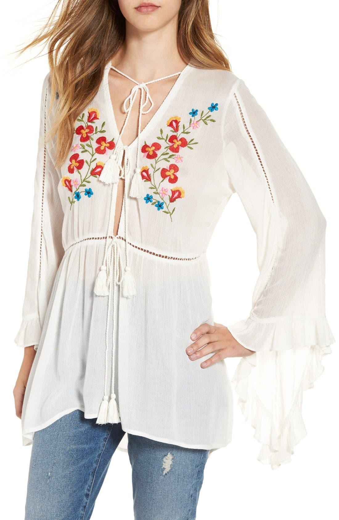 Main Image - Glamorous Embroidered Long Sleeve Tunic